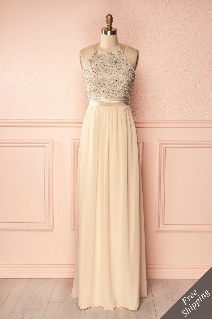 Ozma - Light gold maxi dress with floral lace and sequins top