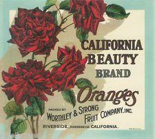 VERY RARE ORANGE CRATE LABEL VINTAGE CALIFORNIA BEAUTY ROSES RIVERSIDE C 1900
