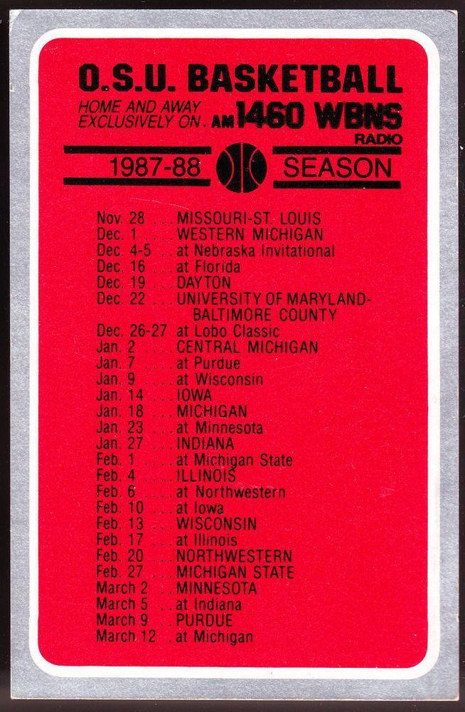 1987-88 OHIO STATE BUCKEYES WBNS RADIO 1460 AM MENS BASKETBALL POCKET SCHEDULE #Pocket #SCHEDULE