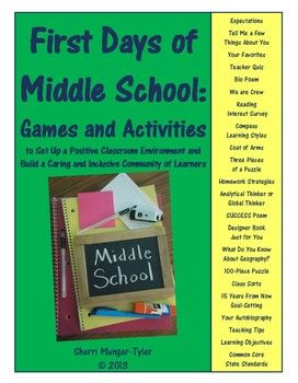 20 games & activities designed specifically for Middle School to foster a positive classroom environment & build a caring, inclusive community of learners! Build rapport with students while assessing learning styles, communication, interpersonal, & critical problem-solving skills and for effective grouping, enriching curriculum for gifted students, & scaffolding curriculum for struggling learners. Teaching Tips, Learning Objectives, and Common Core State Standards all included. $12.00