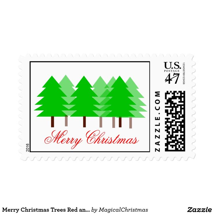 Merry Christmas Trees Red and Green Stationary