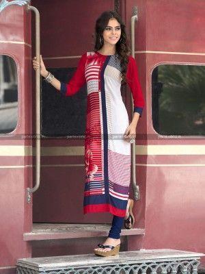 White N Red Rayon Cotton Lovely Designer Kurti