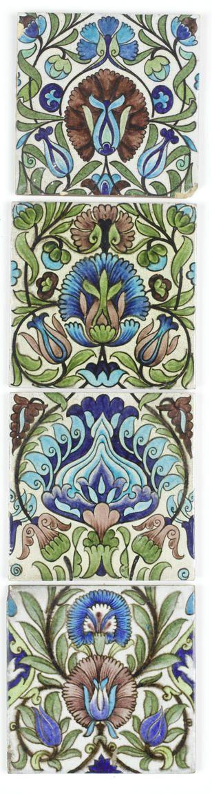 William De Morgan Four Isnik Pottery Tiles, circa 1880