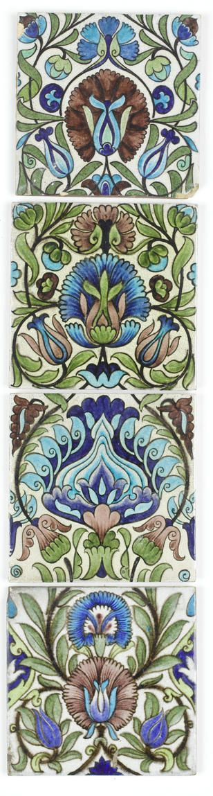 William De Morgan Four Isnik Pottery Tiles, circa 1880