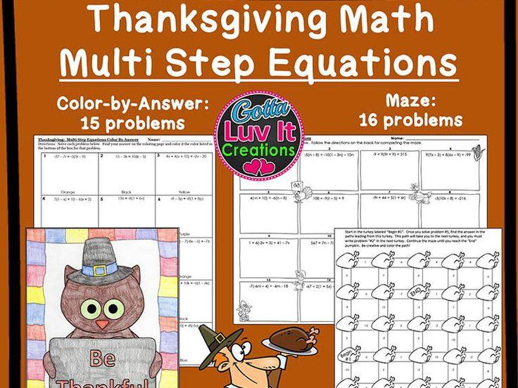 Solving Equations Thanksgiving Turkey Math Multi Step
