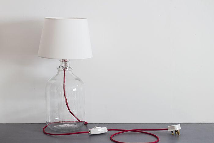 17 best images about diy sobre base de cristal on - Como hacer una lampara de mesa ...