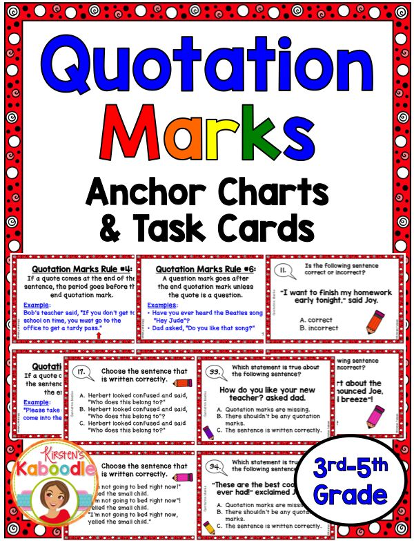 Do your students exhibit quotation mark confusion?  This quotation marks anchor charts and task cards product goes over all the rules of correct usage and gives your students much needed practice!