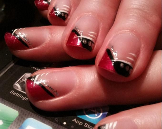 red white and pink nail styles for prom red and black