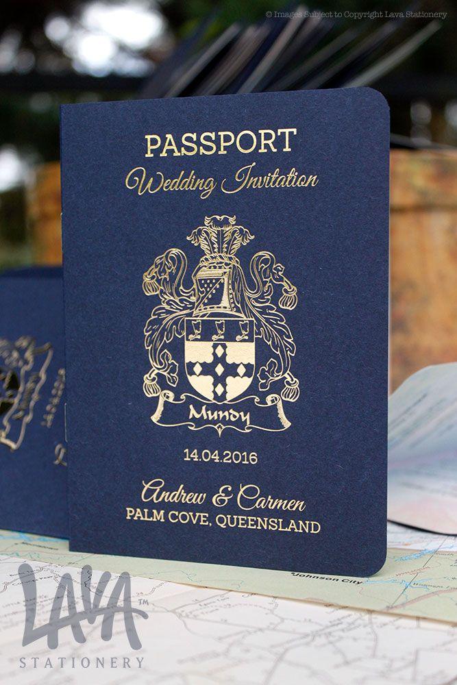 #Passport #GoldFoil wedding invitation by www.lavastationery.com.au