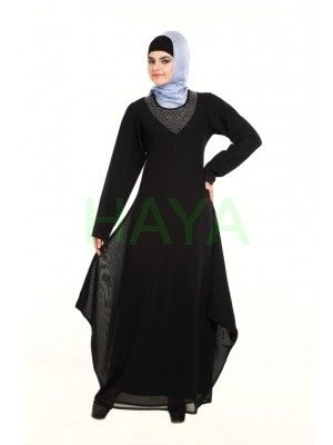 Beads around the neckline adds charisma to this black abaya. Its also available in  different colors for $51.00