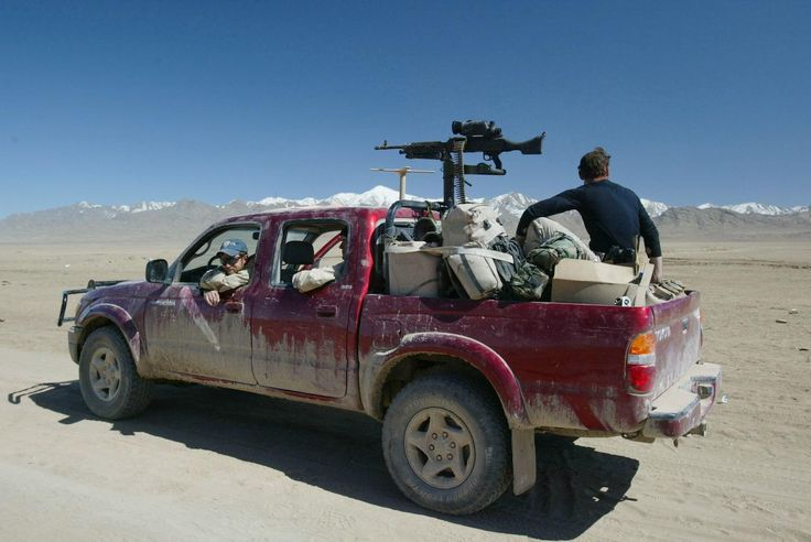 Toyota Tacoma pickup truck belonging to U.S. Army Special Forces. Afghanistan March 2002 [1600 x 1070]