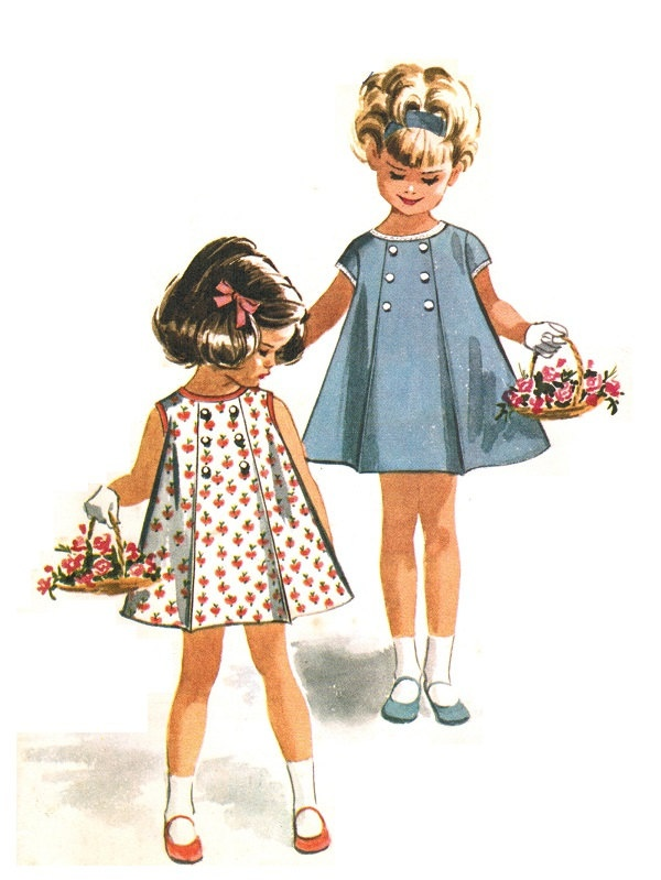 McCall's 6744 Vintage 60s Super Cute Toddler Girl's Panel Pleat Dress - Button Detail - Sleeveless or Cap Sewing Pattern Size 1. $9.00, via Etsy.