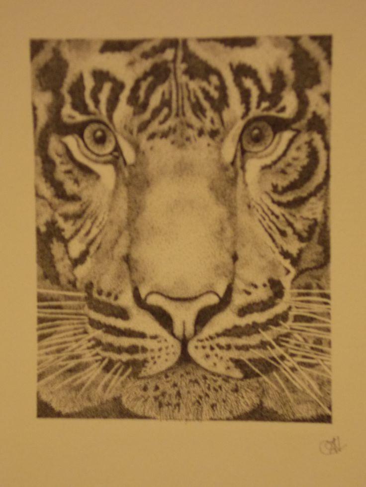 tiger pointillism.