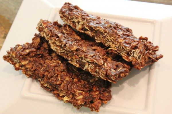 Chocolate peanut butter oat bars. Make them in the microwave!  3 ingredients.  Easy, vegan, gluten free.