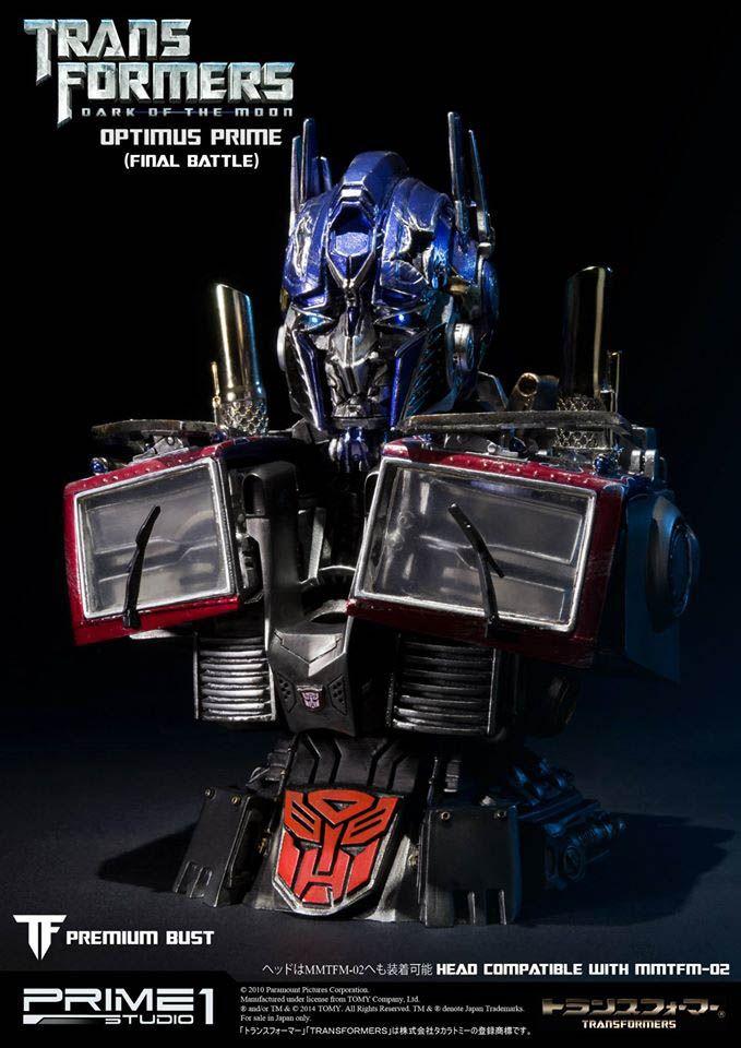 Busto Optimus Prime 18 cm. Versión batalla final. Transformers 3: el lado oscuro de la luna. Prime 1 Studio Estupendo busto del comandante Optimus Prime de 18 cm fabricado en poliresina en su versión de la batalla final visto en el film Transformers 3: el lado oscuro de la luna.