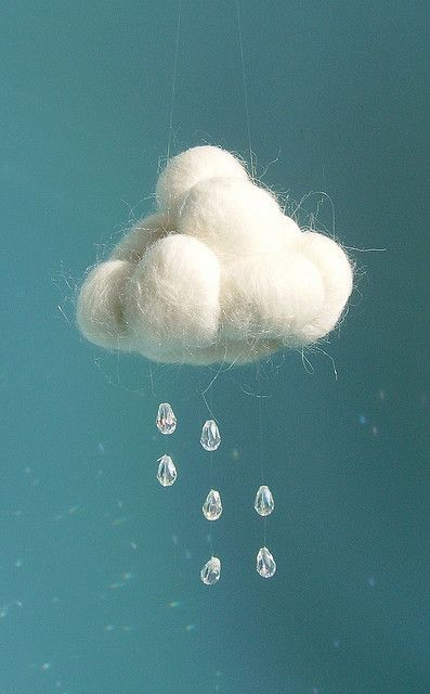 Little Spring Cloud | Rainy Day Mobile: Balls of unspun sheeps wool, tear drop beads, fishing line. | By Atelier Pompadour