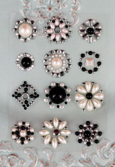 Prima - Say It In Studs Collection - Self Adhesive Jewel Art - Bling - Flower Centers - Gray and Black at Scrapbook.com