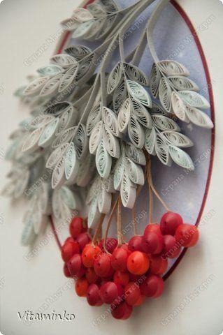 Картина панно рисунок Квиллинг Новые работы Зимняя рябина Бумага Бумажные полосы фото 1
