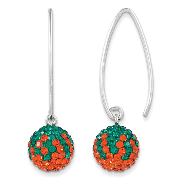 Sterling Silver Swarovski Elements U of Miami Earrings CE0174-57