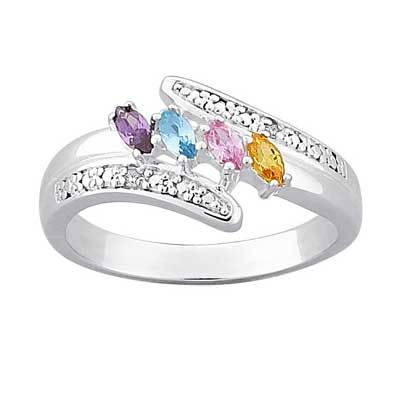 Zales Baguette Simulated Birthstone sisters Ring in Sterling Silver (2-5 Stones and Names) iVlSOB