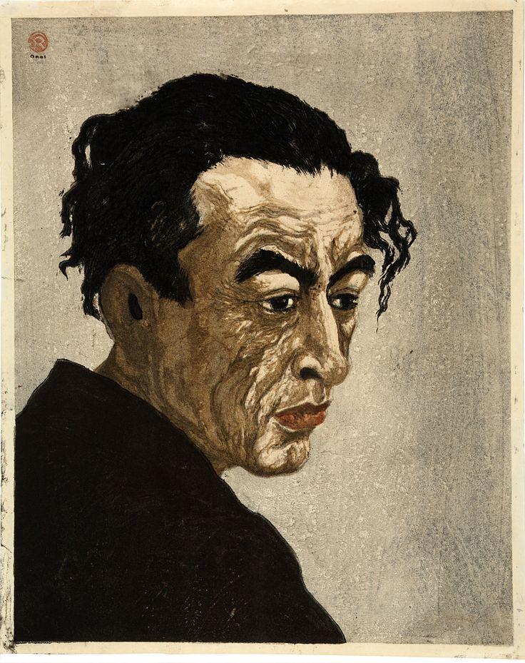 PORTRAIT OF HAGIWARA SAKUTARŌ, Onchi Kōshirō (1891-1955). Kleurenhoutsnede op papier, 1949, P0109. Elise Wessels Collection – Nihon no hanga