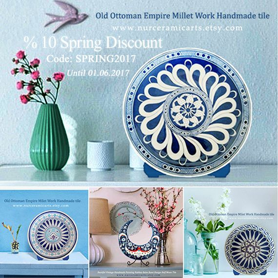 Happy day all works ½10 discount until 01.06.2017 http://www.etsy.com/shop/nurceramicarts  giftideas  etsy homedecor art Home & Living Home Décor Decorative Trays home decor ceramic art ottoman art decoration tile art ceramic tile tile paint vintage design historical art historical greek handmade iznik tile ottoman design  https://www.etsy.com/shop/nurceramicarts