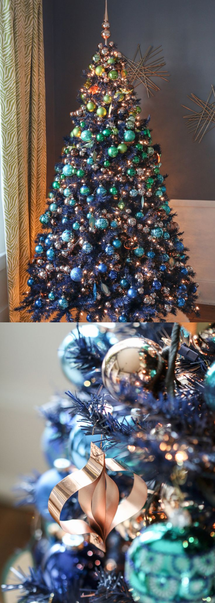 Blue christmas trees decorating ideas - Navy Blue Christmas Tree Christmas Tree Decorating Ideas