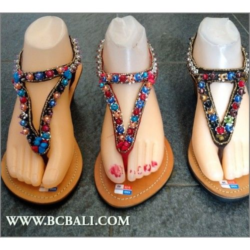 Bali Leather Wedges Sandal Full Beading - bali leather wedges sandal full beading leather, wedges leather full beading handmade