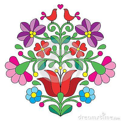 Bordado de Kalocsai - modelo popular floral húngaro con los pájaros