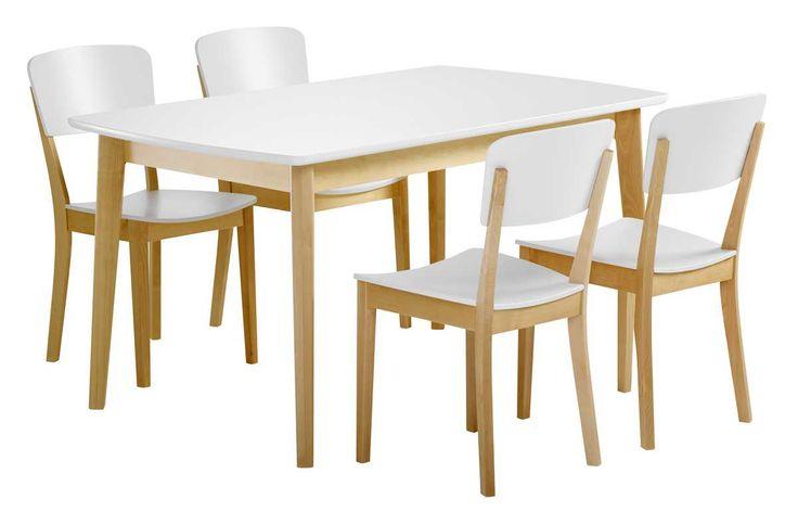 Olivia Pöytä 140x85 ja 4 tuolia puuistuin Väri: Luonnonvärinen koivu/valk Mittatiedot: Pöydän päämitat: leveys 85 cm, pituus 140 cm, korkeus 74,5 cm. Tuolin päämitat: lev. 42 cm, kork. 82 cm, syv. 51,5 cm, istuinkork. 42,5/44 cm. Laulumaa Huonekalut