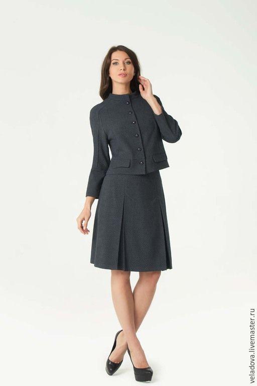 """Купить Костюм """"Chanel_2"""" - темно-серый, серо-синий, костюм в офис, офисный костюм"""
