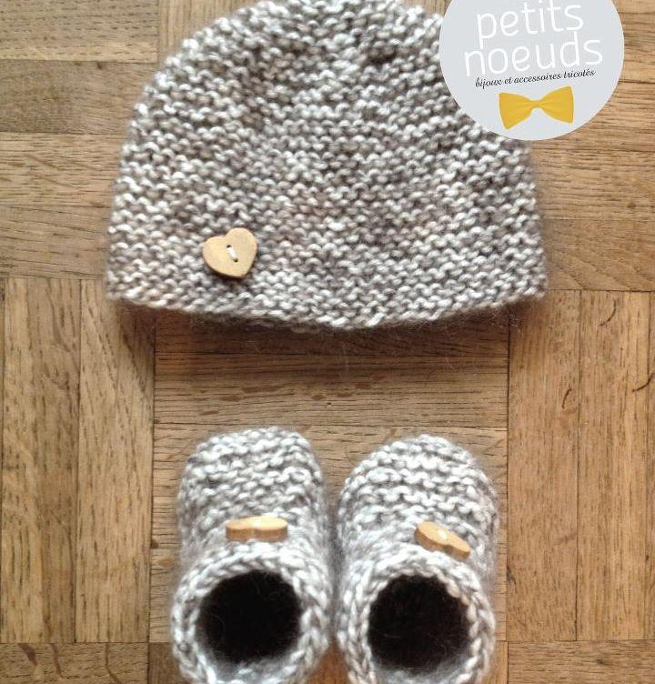 Bonnet & chaussons naissance petits coeurs   Les petits noeuds