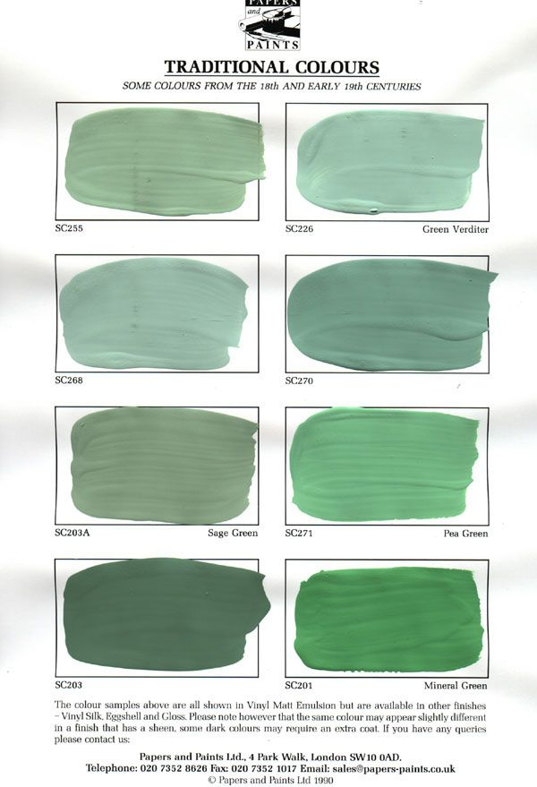 Greens: colours in the Traditional Colour Range are a number of those in  use by the house-painter between 150 and 300 years ago.