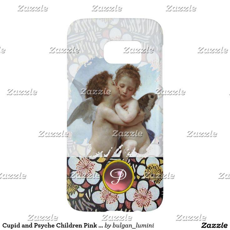 Cupid and Psyche Children Pink Gemstone Monogram Samsung Galaxy S7 Case #beauty #lovers #love #angels #fineart #flower