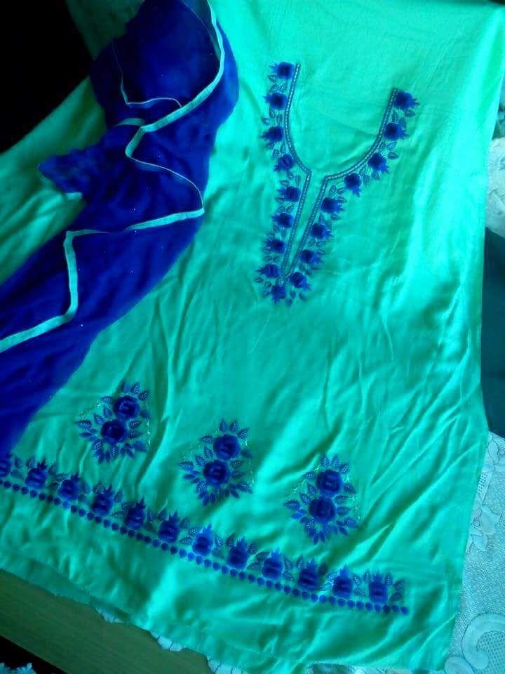 Machine Embroidered Suit in Sea Green Color, With Pure Chinon Chiffon Dupatta