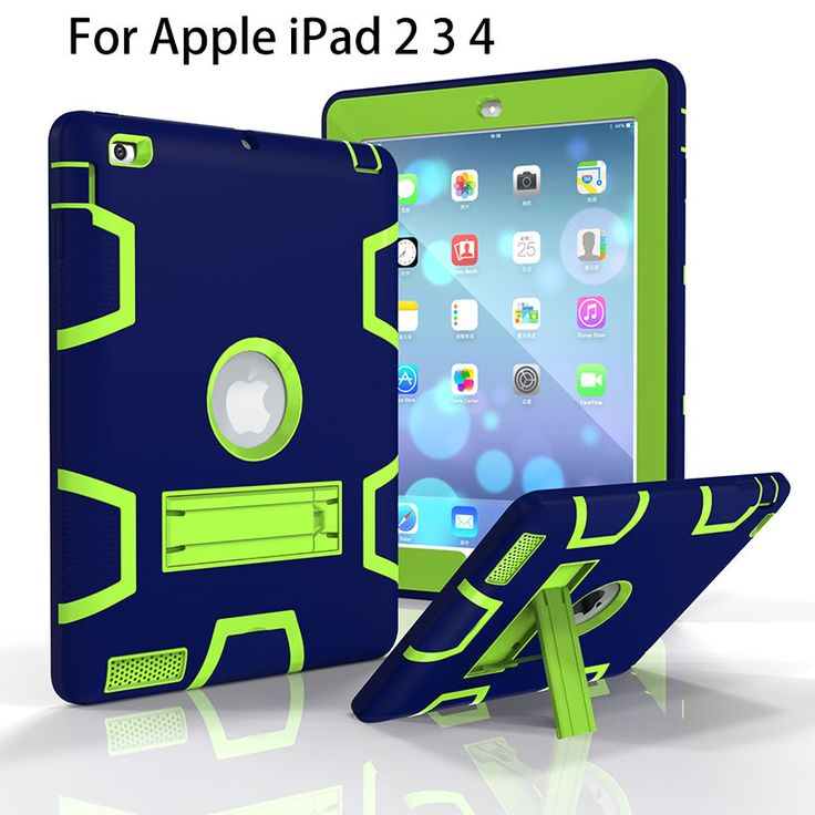 For Apple iPad2 iPad3 iPad4 Case Back Cover Tablet Silicon+PC Shockproof Hybrid Heavy Duty Rugged Combo With Kickstand Funda #Affiliate