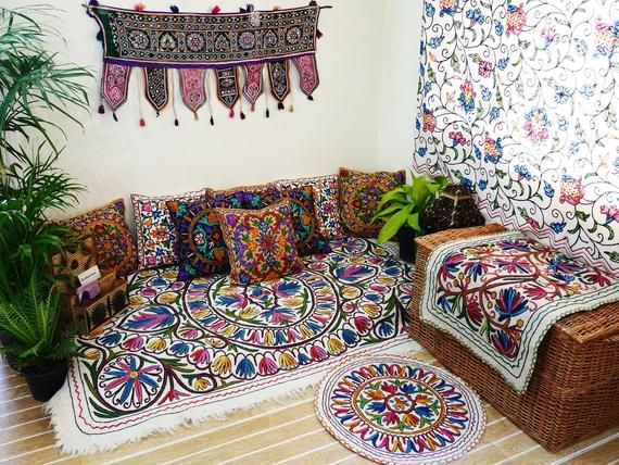 Boho Hippie Decor Set Floor Seating Area Meditation Space Interior Design Boho Curtains Meditation Pillow Set Bohemian Decor Floor Seating Hippie Decor Indian Floor