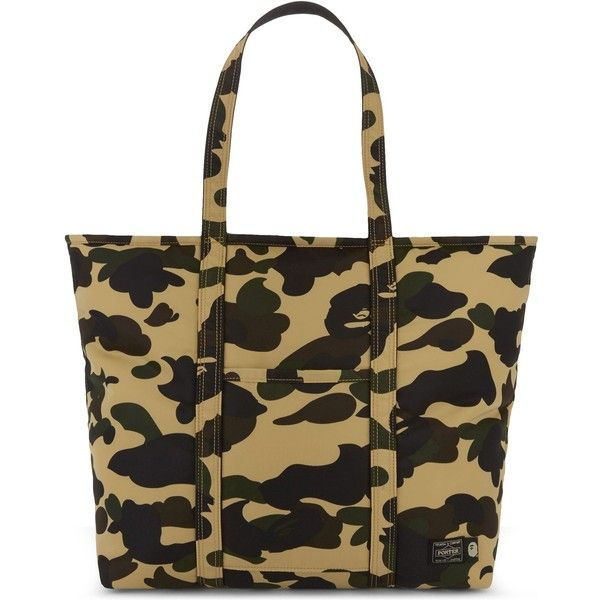 A Bathing Ape Porter camo tote ($480) ❤ liked on Polyvore featuring men's fashion, men's bags, mens sports bag, mens camo diaper bag and men's tote bag