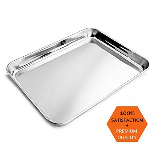 From 7.99 Ackmond Stainless Steel Baking Sheet Compact Toaster Oven Pan Tray Ovenware Professional 8''x10''x1''(20.3x25.4x2.5cm) Heavy Duty & Healthy Deep Edge Superior Mirror Finish Dishwasher Safe