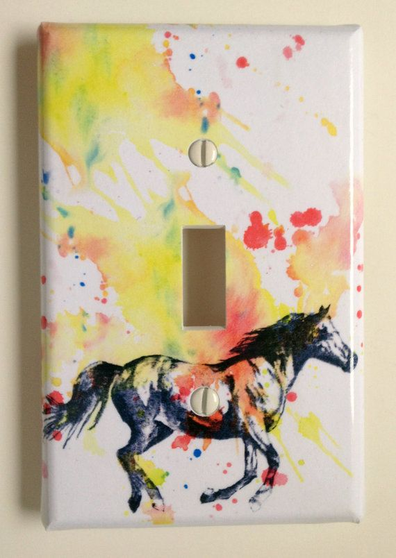 Running Horse Decorative Light Switch Cover Plate Great Children Kids Room Decor, And Every Horse Lover