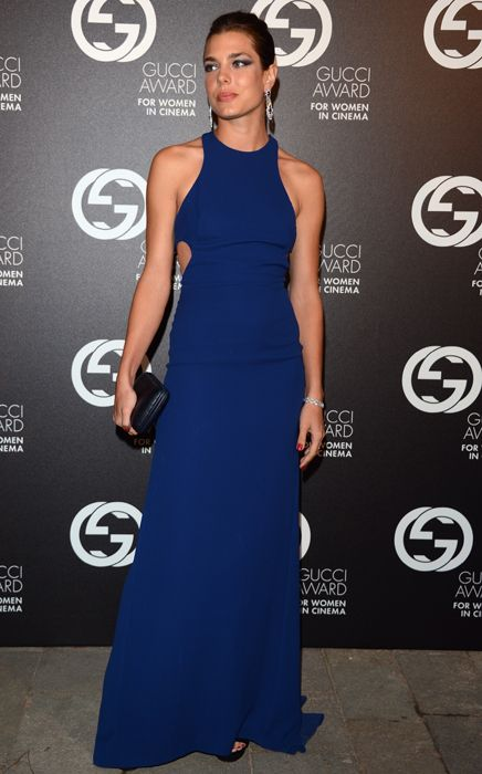 Charlotte Casiraghi is electric in dramatic blue maxi-gown at the Venice Film Festival