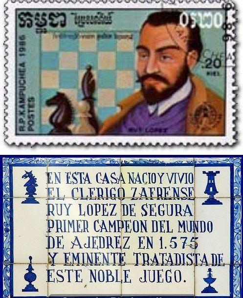 Ruy López de Segura. Campeón mundial no oficial (1559-1575). The Spanish Opening (1.e4 e5 2. Nf3 Nc6 3.Bb5) is also called Ruy Lopez.