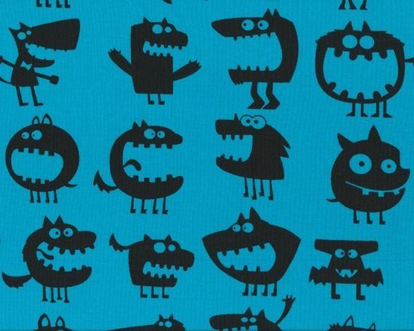 Baumwolljersey mit Elasthan MONSTER, extrabreit, kräftiges himmelblau