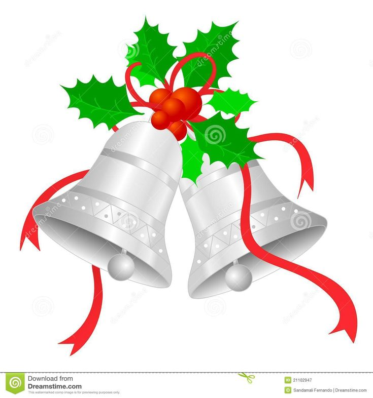 Silver Bells Clip Art | Silver Christmas Bells with red ...