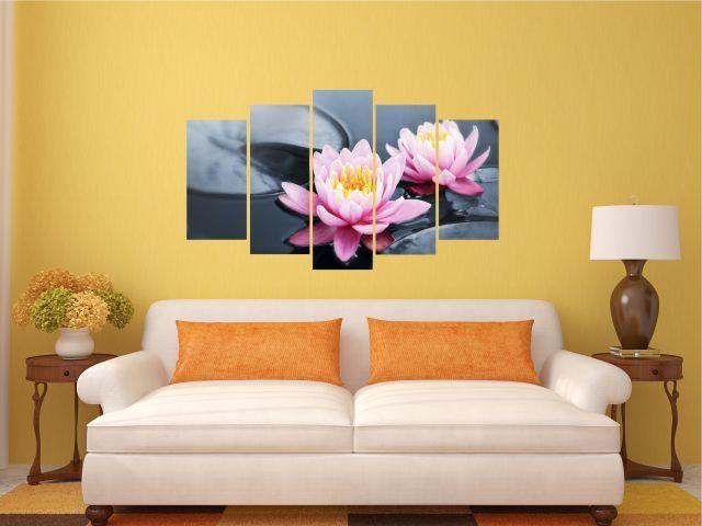 Multicanvas 5 piese flori de lotus roz - cod E36