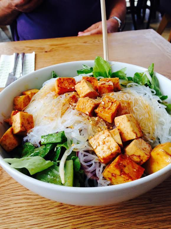 Rice Noodle Bowl Rice Noodles Greens Red Cabbage Tofu