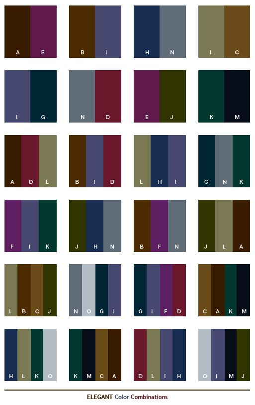 Elegant color schemes, color combinations, color palettes for print (CMYK)  and Web