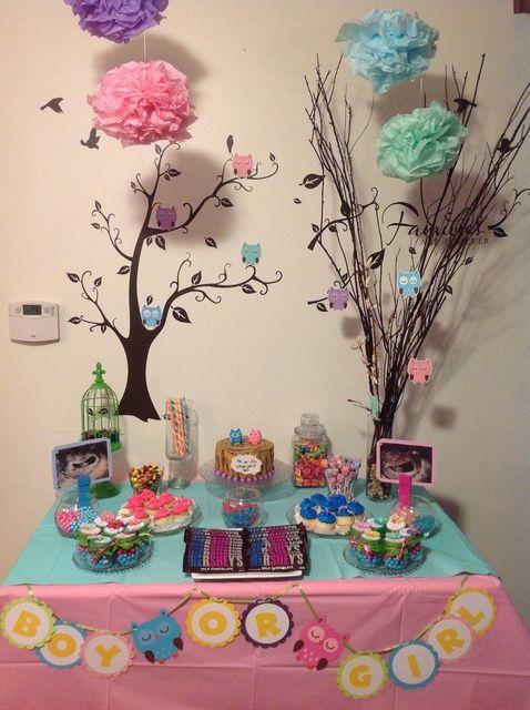 54 best ideas para mesas de postres images on pinterest for Baby shower owl decoration ideas