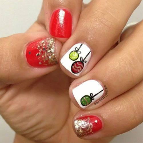 1000+ Images About Christmas Ornament Nail Art Designs On