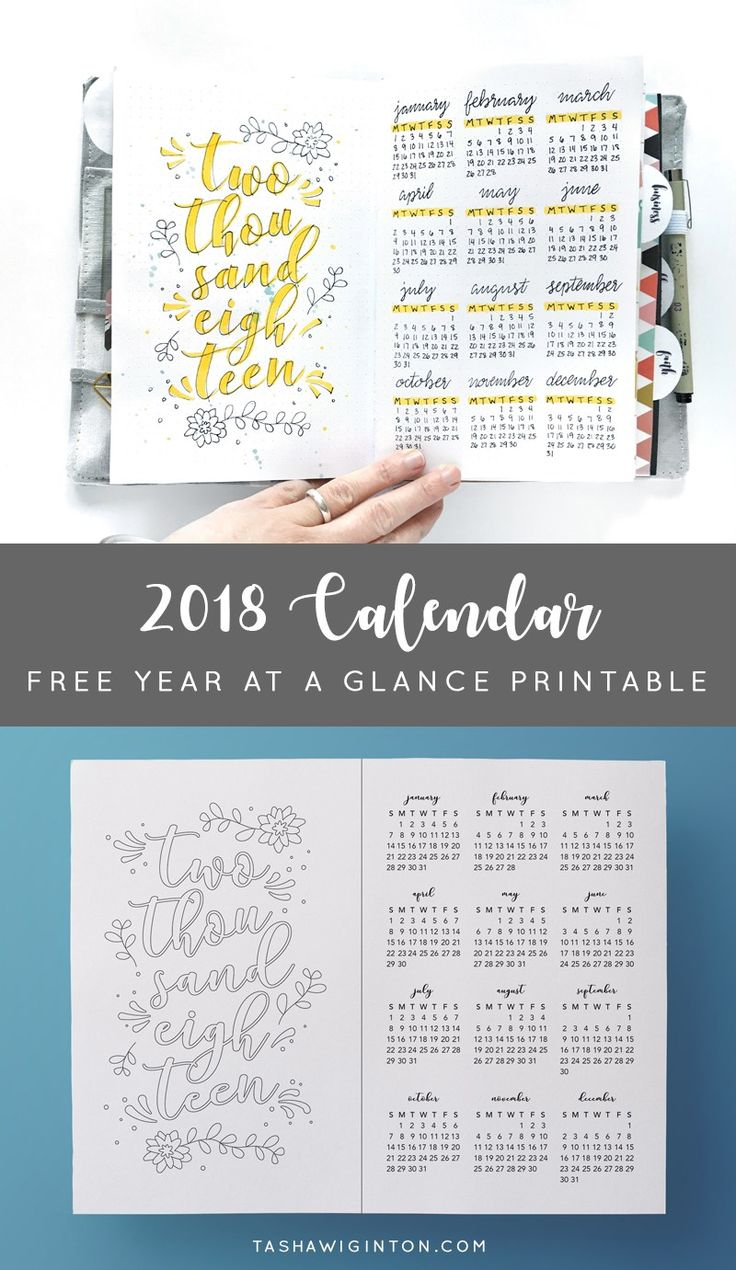 Free Printable 2018 Year at a Glance Calendar for Your Bullet Journal